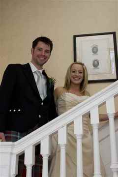 Bride and Groom on the Stairs, Butley Priory