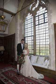 Bride and Groom inside Butley Priory