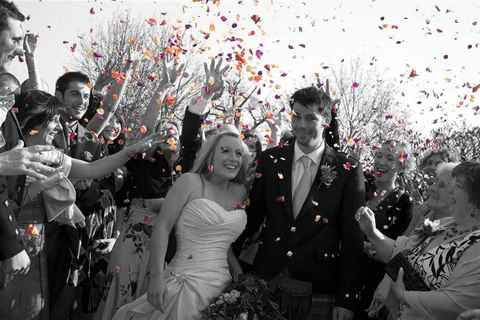 Bride and Groom with Confetti, Butley Priory