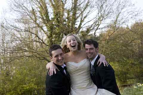 The Bride and Groom with the Best Man, Butley Priory