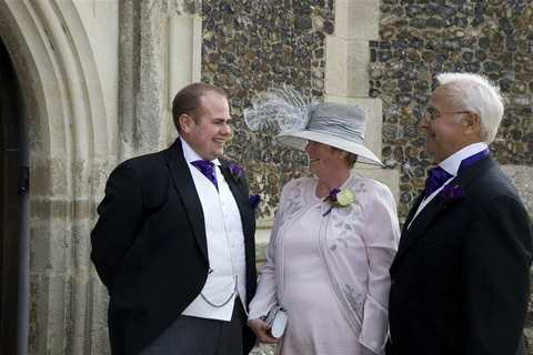 The Groom and Parents at Aldeburgh Parish Church, Suffolk
