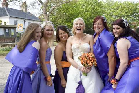 The Bride with the Bridesmaids, at a wedding at Aldeburgh Parish Church, Suffolk