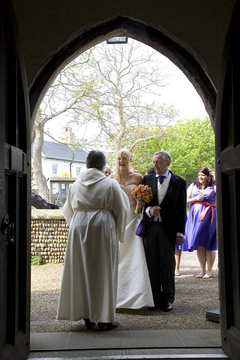 The Bride with her Father at a wedding at Aldeburgh Parish Church