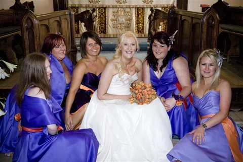 The Bride with her Bridesmaids at Aldeburgh Parish Church, Suffolk