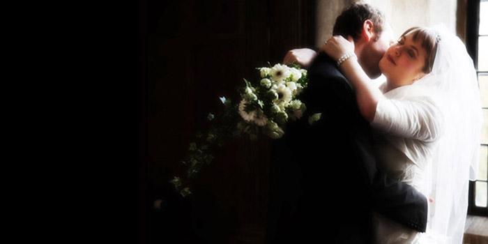 photograph of bride and groom in Butley Priory