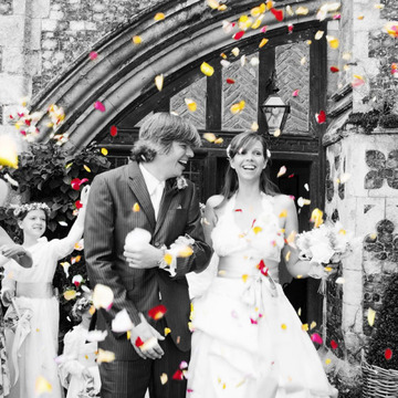 Bride and Groom confetti shot at Butley Priory