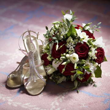 wedding shoes and flowers photograph